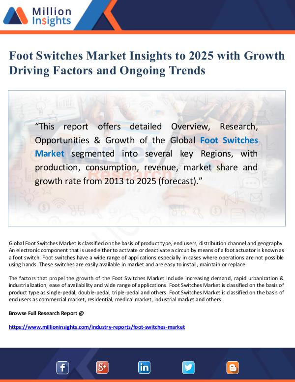 Global Research Foot Switches Market Insights to 2025 with Growth