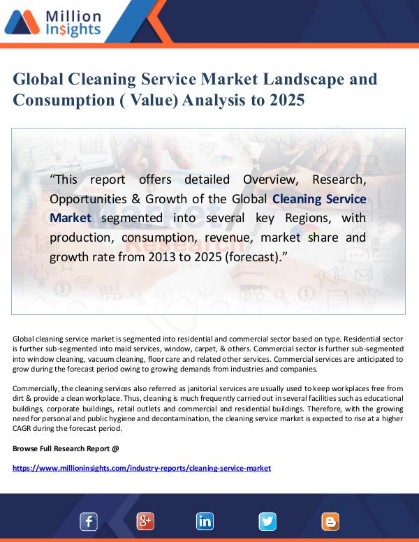 Global Research Global Cleaning Service Market Landscape and Consu