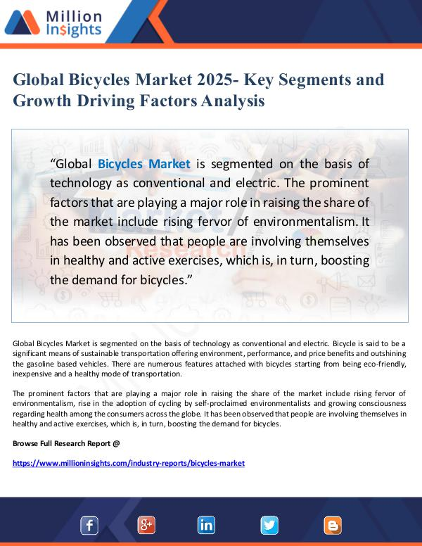 Global Research Global Bicycles Market 2025- Key Segments and Grow