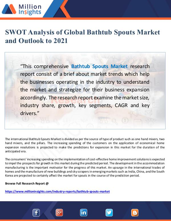 Global Research SWOT Analysis of Global Bathtub Spouts Market and