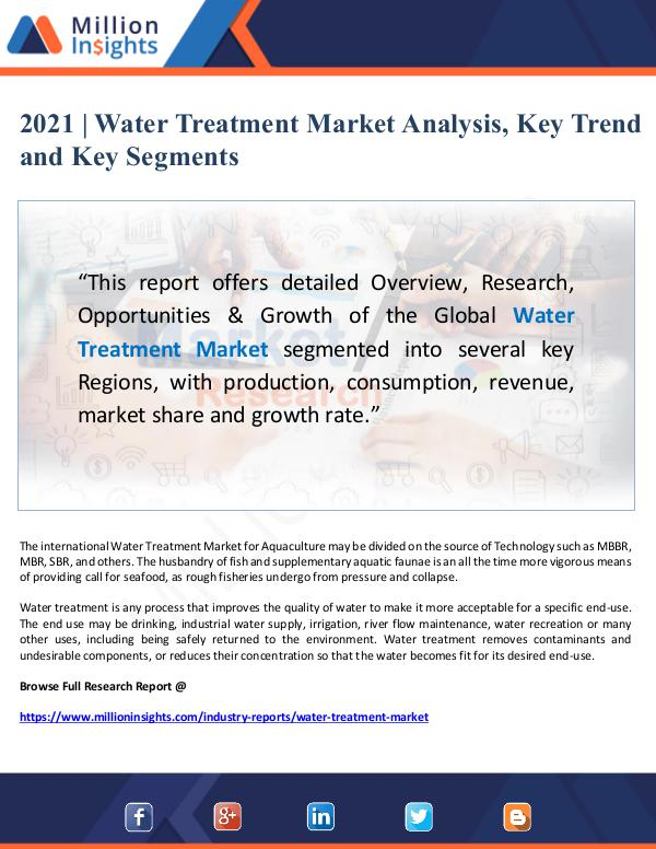 Global Research 2021 Water Treatment Market Analysis, Key Trend an