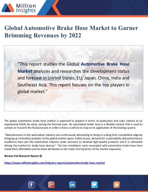 Market Giant Global Automotive Brake Hose Market to Garner Brim
