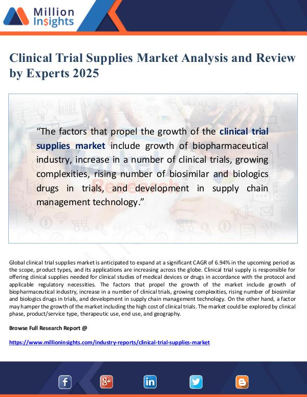 Global Research Clinical Trial Supplies Market Analysis and Review