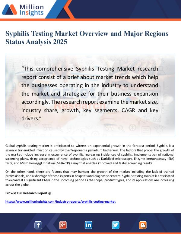 Global Research Syphilis Testing Market Overview and  Analysis 202
