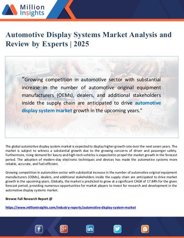 Market Giant Automotive Display Systems Market Analysis to 2025