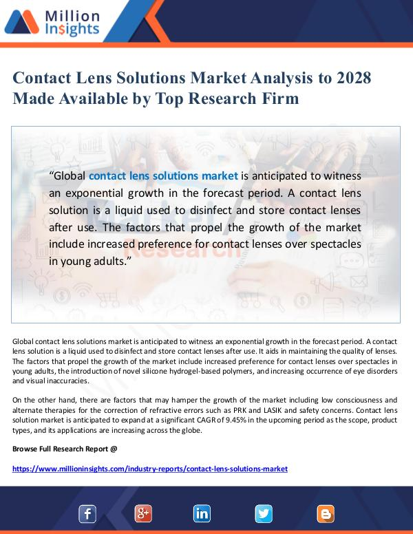 Contact Lens Solutions Market Analysis to 2028