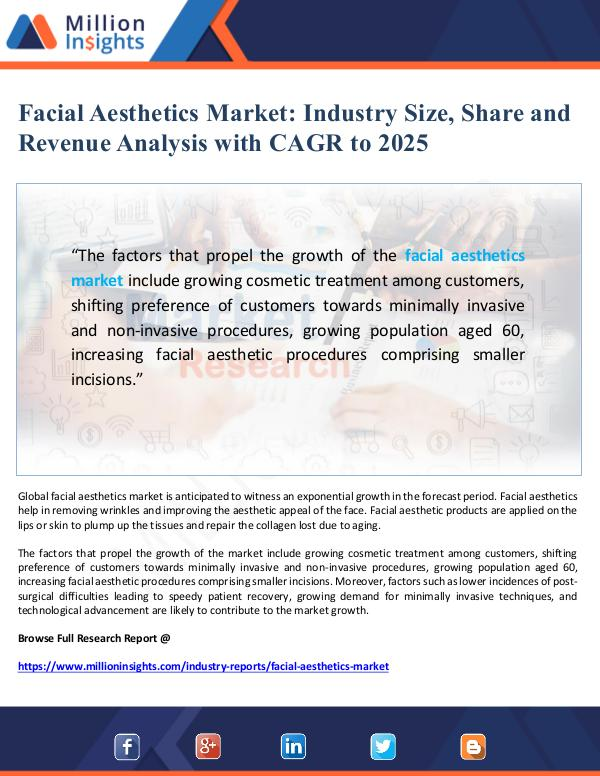 Global Research Facial Aesthetics Market Size and Share to 2025