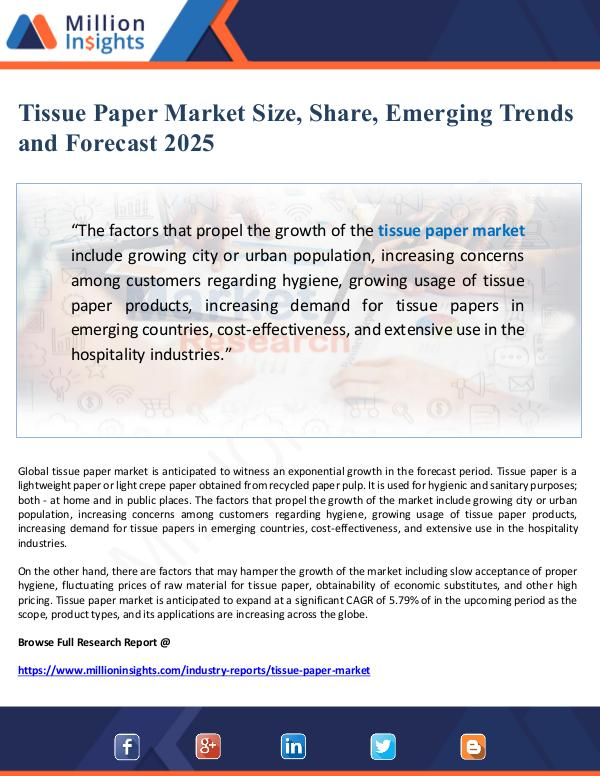 Global Research Tissue Paper Market Size, Share and Forecast 2025