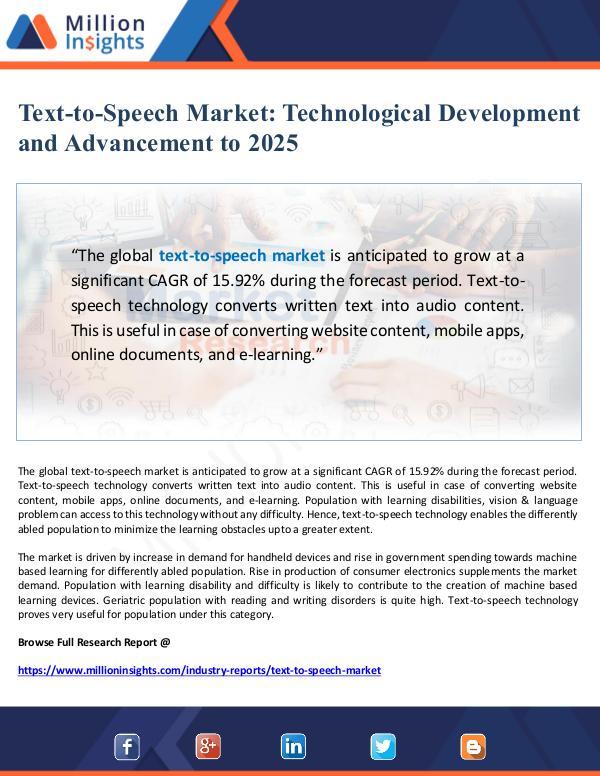 Text-to-Speech Market Technological Development  a