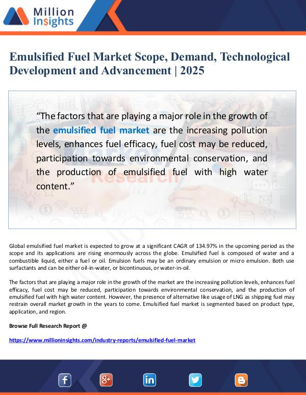 Emulsified Fuel Market 2025- Technological Develop