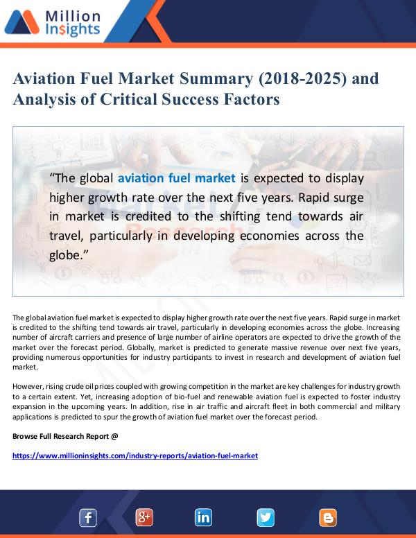 Aviation Fuel Market Summary and Outlook (2018-202