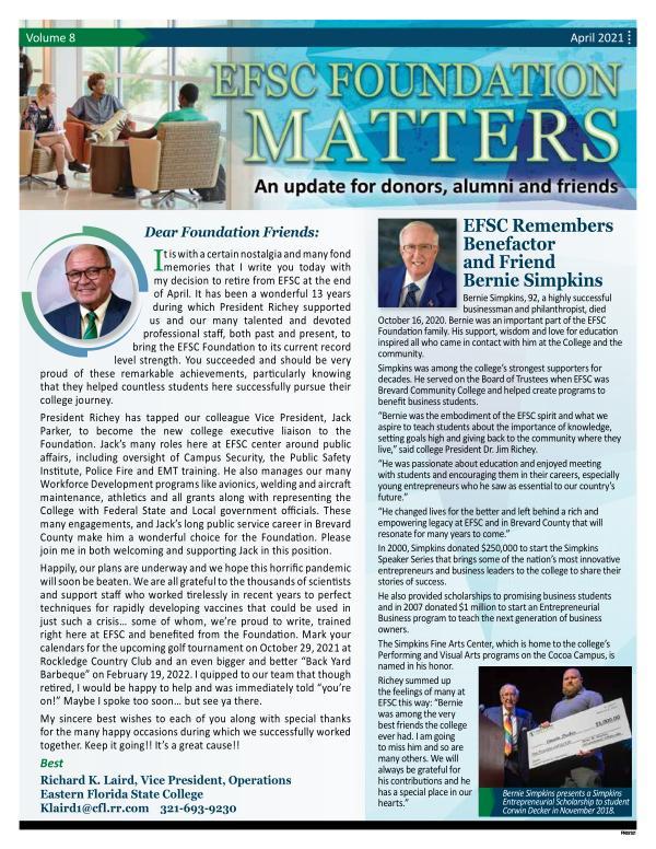 EFSC Foundation Newsletter April 2021