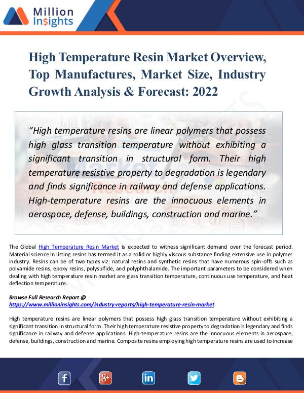 High Temperature Resin Market Overview Report 2022
