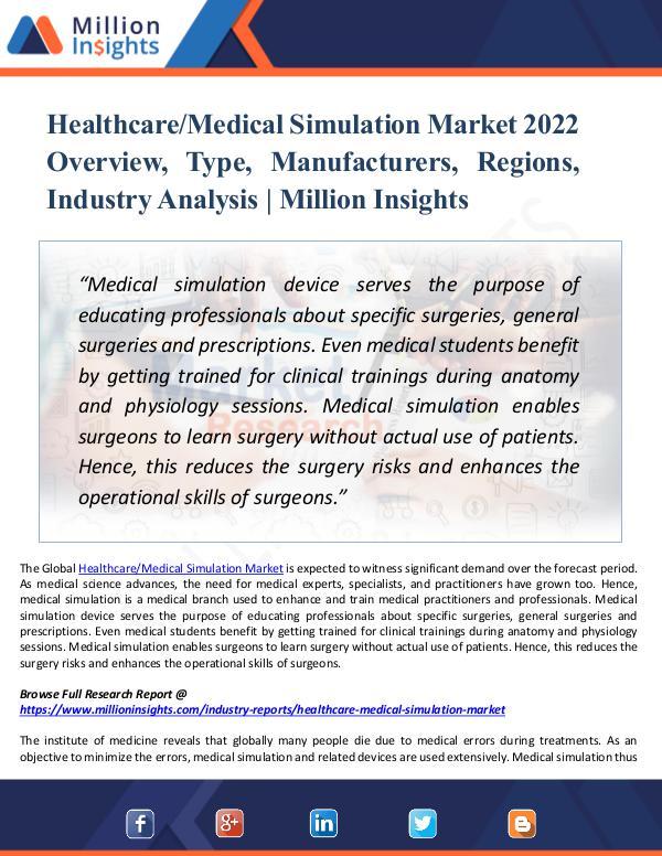 Healthcare-Medical Simulation Market 2022 Report