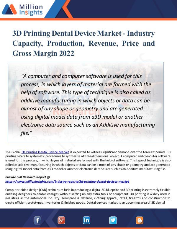 3D Printing Dental Device Market - Industry 2022