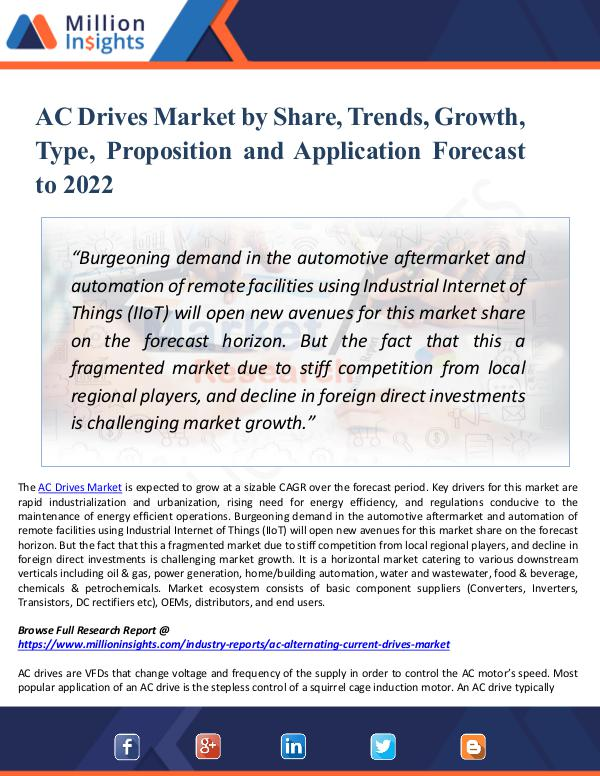 AC Drives Market by Share, Trends, Growth by 2022