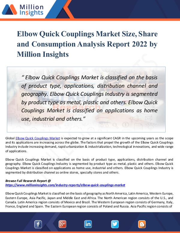 Elbow Quick Couplings Market Size, Share by 2022