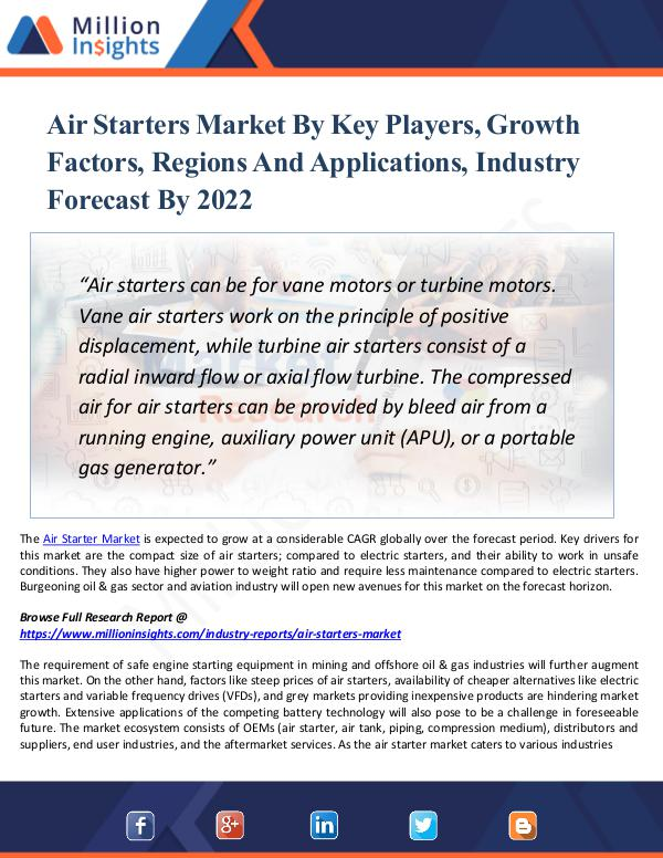 Air Starters Market Key Players,Growth Factors