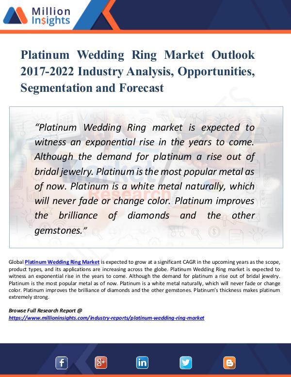 Market New Research Platinum Wedding Ring Market Outlook 2017-2022