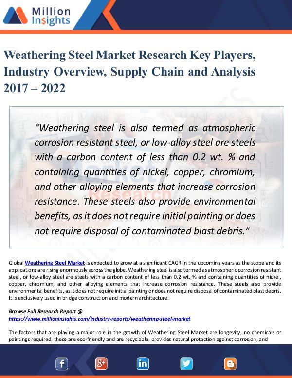 Weathering Steel Market Research Key Players 2022