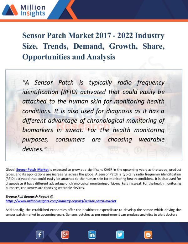 Sensor Patch Market 2017 - 2022 Industry Size