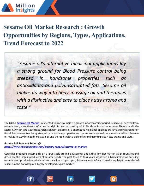 Sesame Oil Market Research - Growth Opportunities