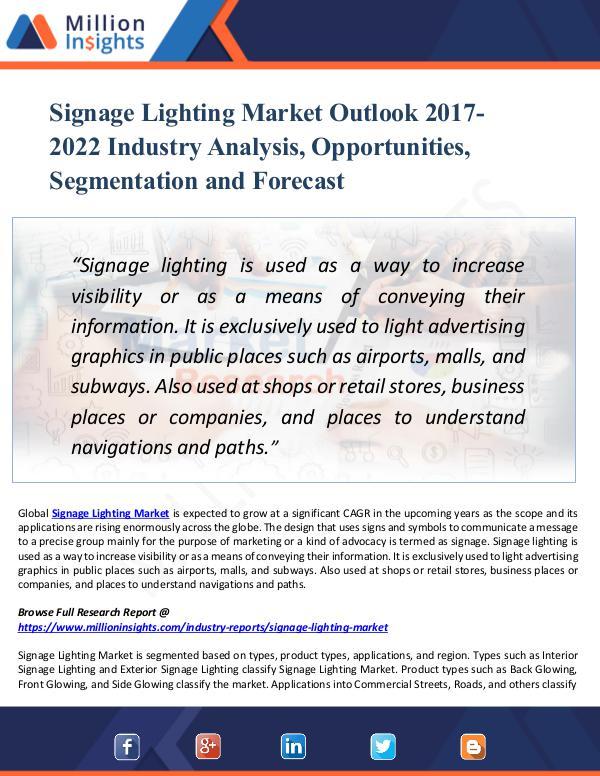 Signage Lighting Market Outlook 2017-2022 Report