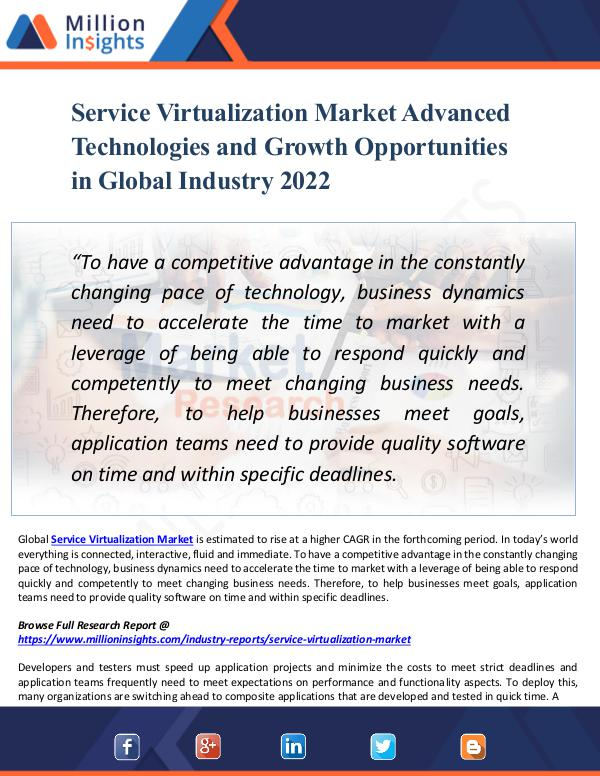 Service Virtualization Market Advanced Technology