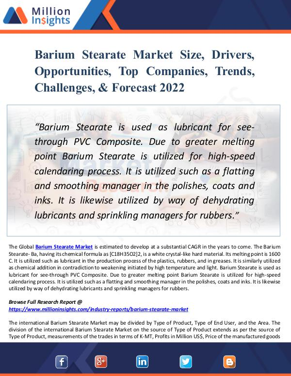 Barium Stearate Market Size, Drivers, Opportunitie
