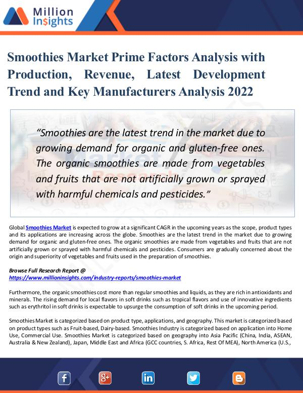 Smoothies Market Prime Factors Analysis with 2022