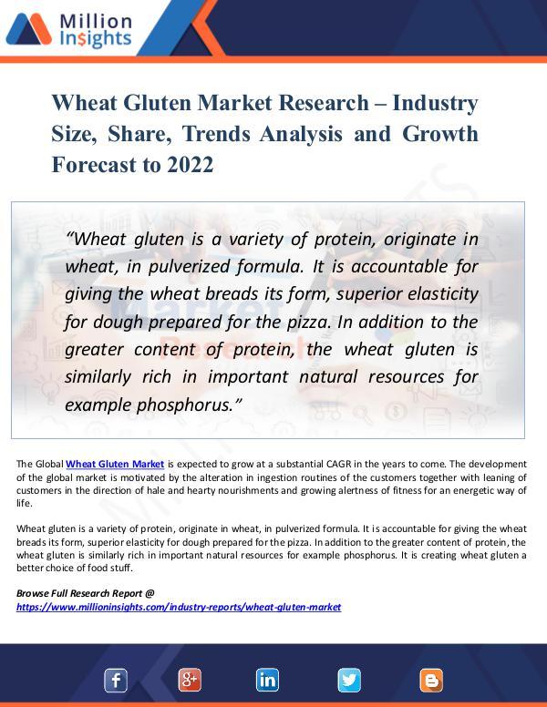 Wheat Gluten Market Research – Industry Size 2022