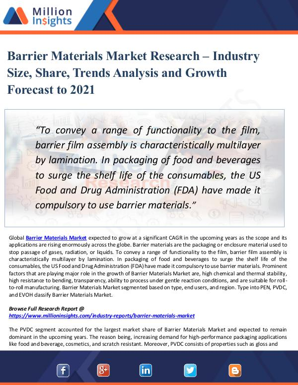 Barrier Materials Market Research – Industry Size