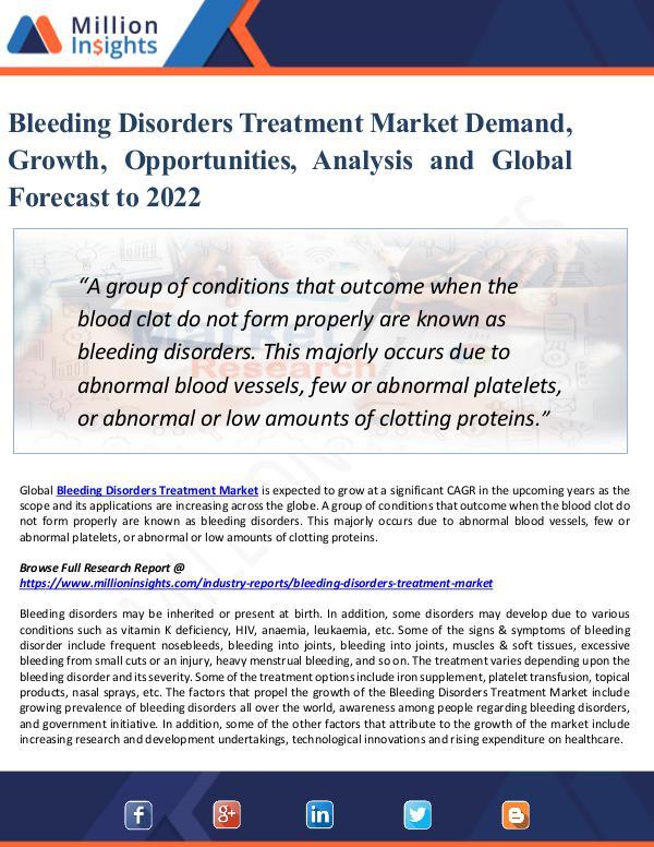 Bleeding Disorders Treatment Market Demand, Growth
