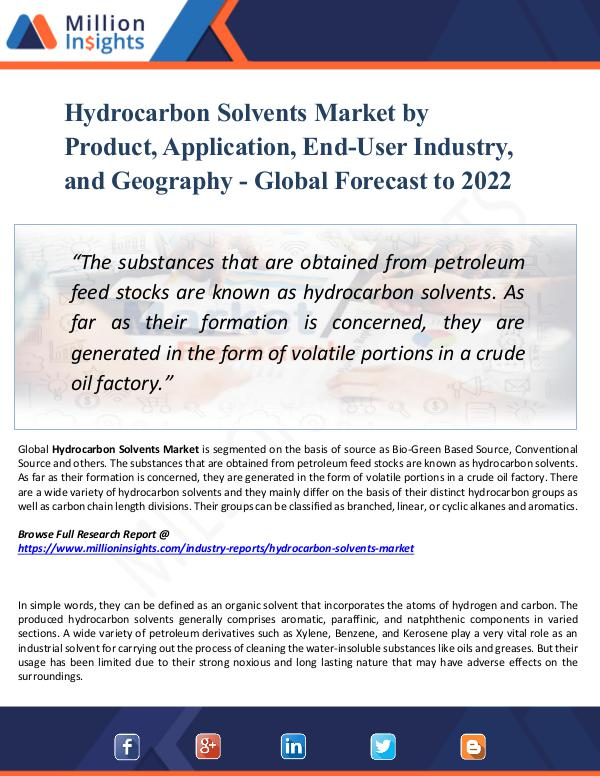 Hydrocarbon Solvents Market by Product 2022