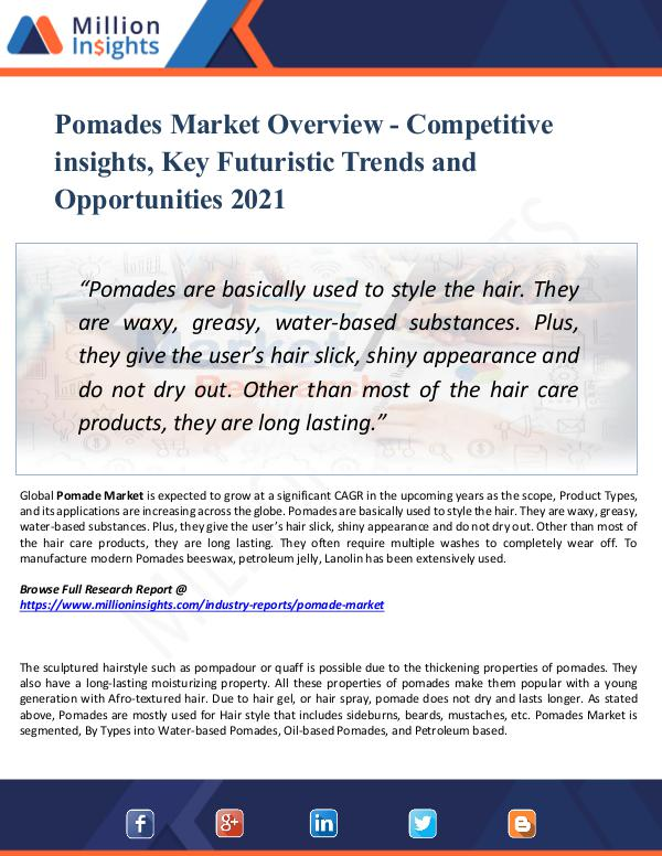Pomades Market Overview -Competitive insights 2021