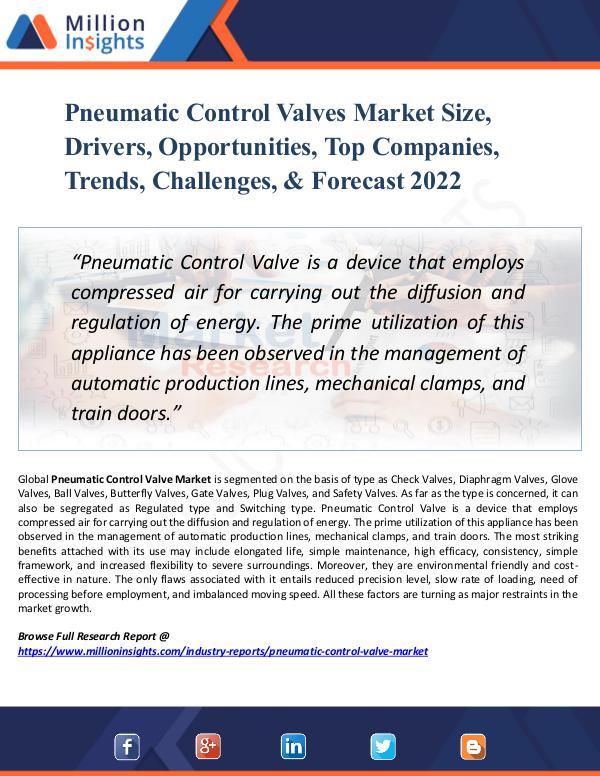 Pneumatic Control Valves Market Size, Drivers 2022
