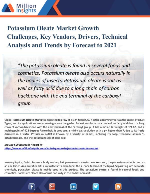 Potassium Oleate Market Growth Challenges, 2021