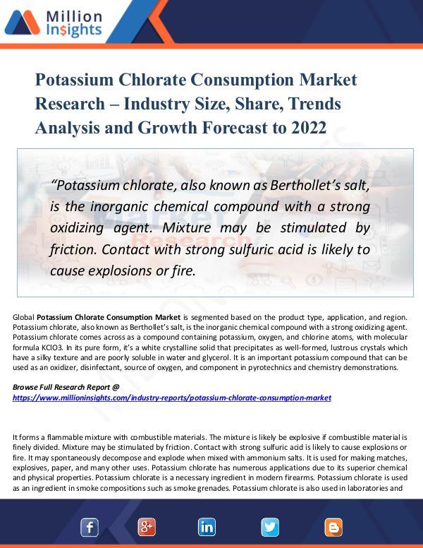 Potassium Chlorate Consumption Market Report  2022