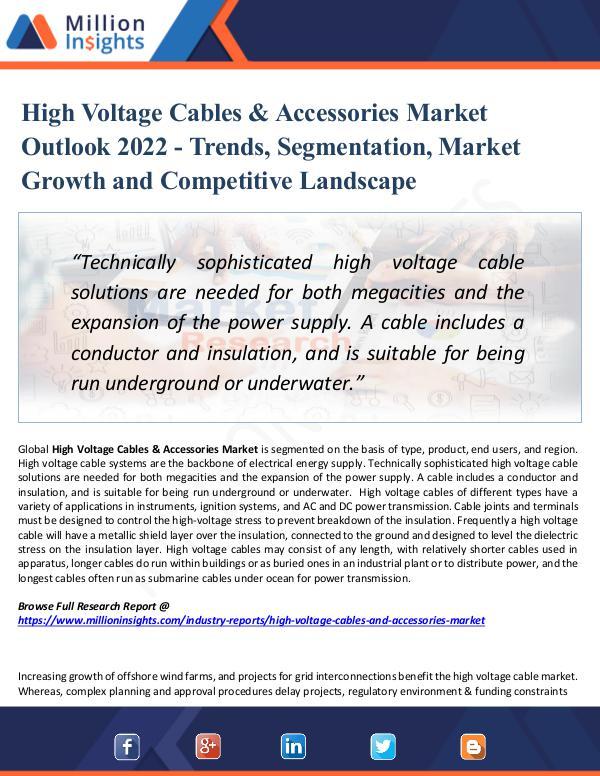 High Voltage Cables & Accessories Market 2022