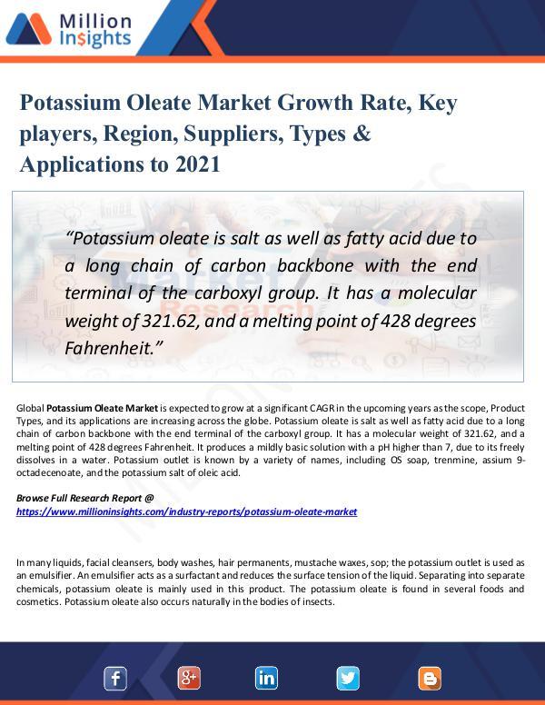 Potassium Oleate Market Growth Rate, 2021