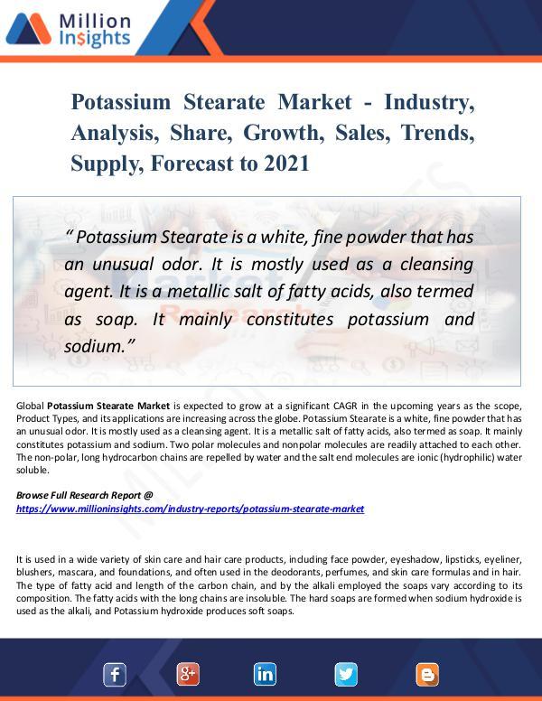 Potassium Stearate Market - Industry,Analysis 2021
