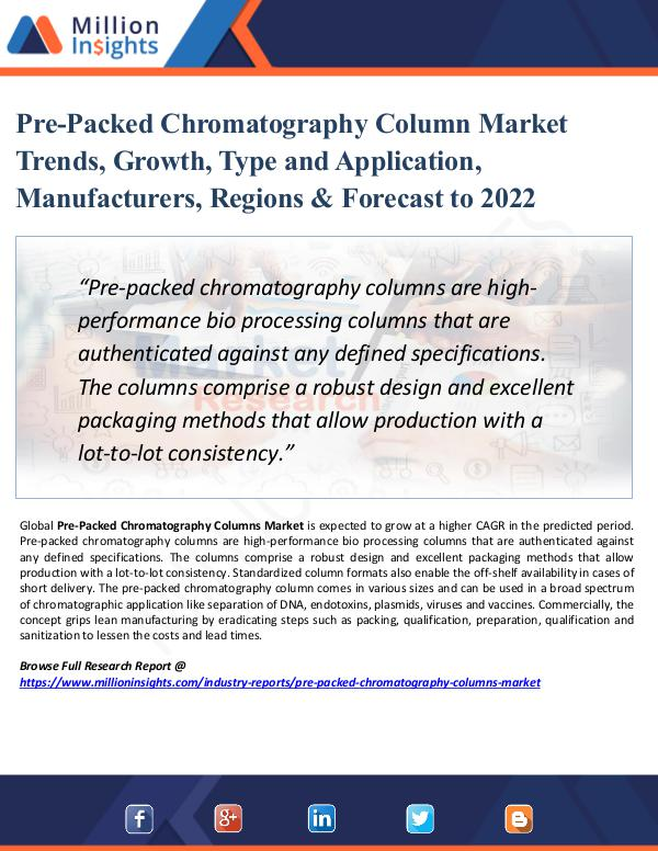 Pre-Packed Chromatography Column Market Size 2022