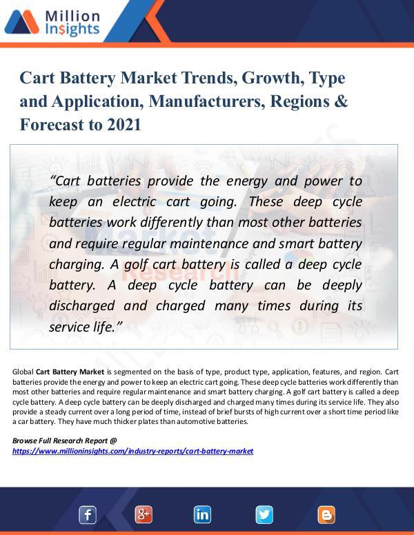 Cart Battery Market Trends, Growth, Type 2021