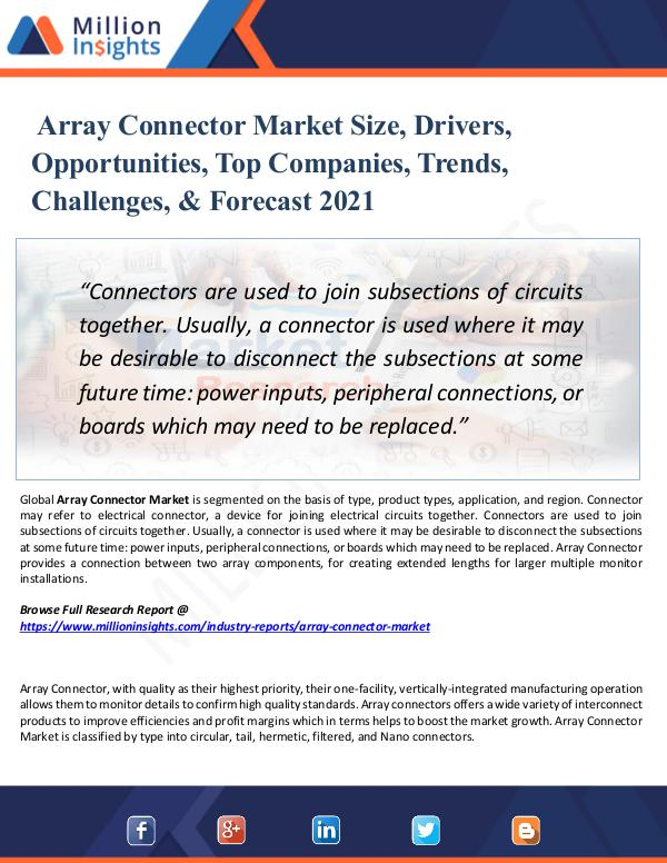 Array Connector Market Size, Drivers, 2021