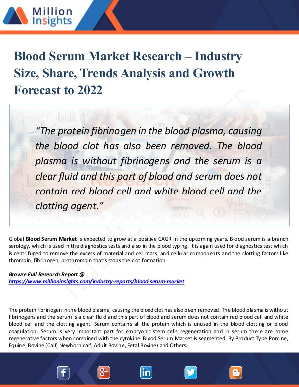 Blood Serum Market Research -Size, Share 2022