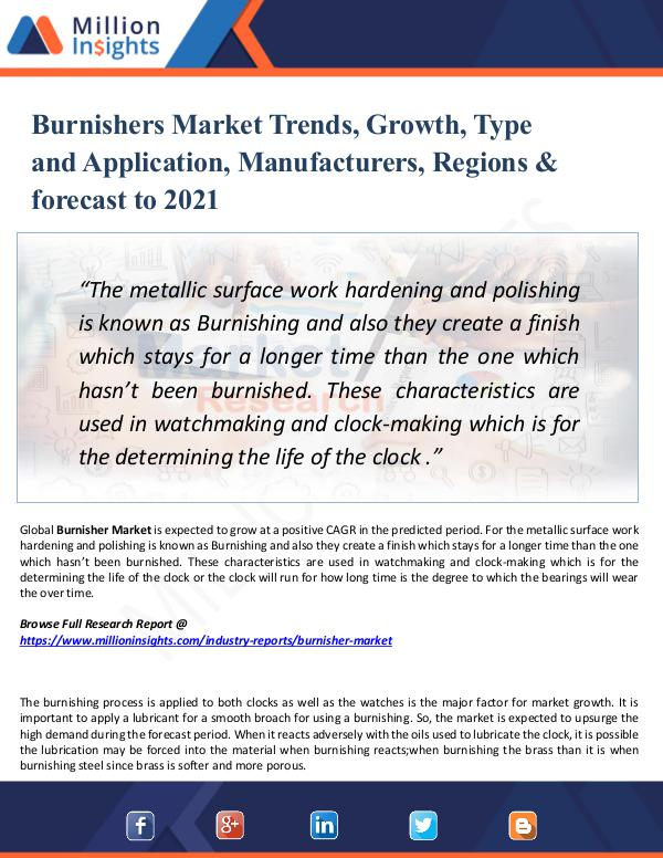 Burnishers Market Trends, Growth, Type 2021