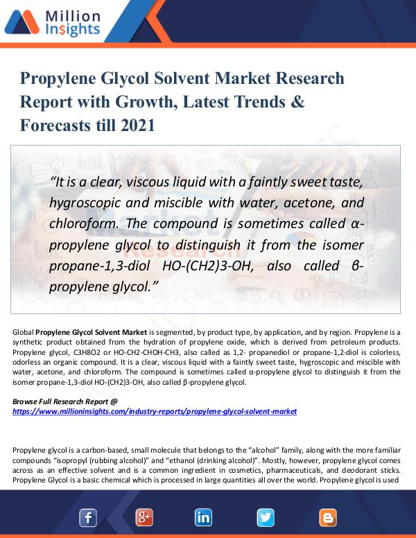 Market New Research Propylene Glycol Solvent Market Report 2021