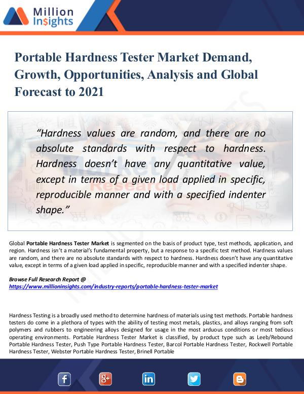 Portable Hardness Tester Market Demand,Growth 2021