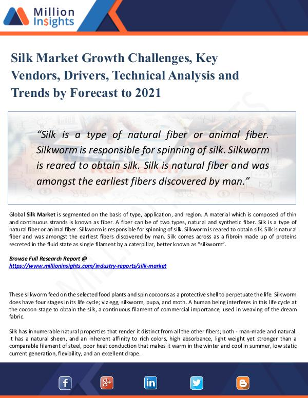 Silk Market Growth Challenges, Key Vendors, Driver