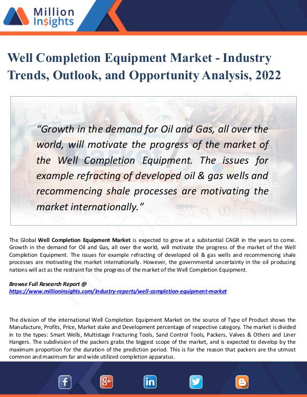 Well Completion Equipment Market - Industry 2022